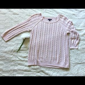 American Eagle Cable Knit Sweater Light Pink Sz SP
